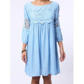 Chic Round Neck 3/4 Sleeve Pure Color Cut Out Women's Dress