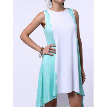 Trendy Jewel Neck Green Tie-Dye Dress For Women