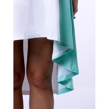 Trendy Jewel Neck Green Tie-Dye Dress For Women - WHITE/GREEN S