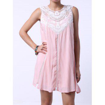 Refreshing Sleeveless Cut Out Peach Dress For Women