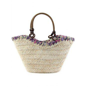 Bohemian Flowers and Weaving Design Tote Bag For Women - GREEN