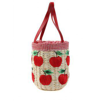 Sweet Apple Pattern and Gingham Design Tote Bag For Women