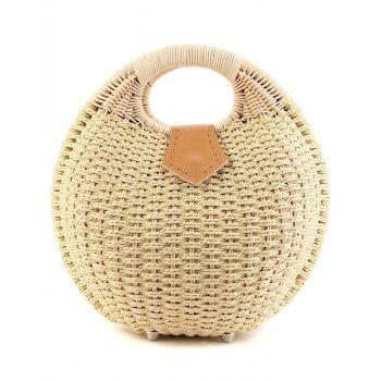Trendy Round Shape and Weaving Design Tote Bag For Women