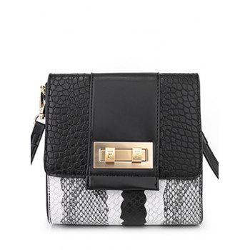Trendy Snake Print and Metal Design Crossbody Bag For Women