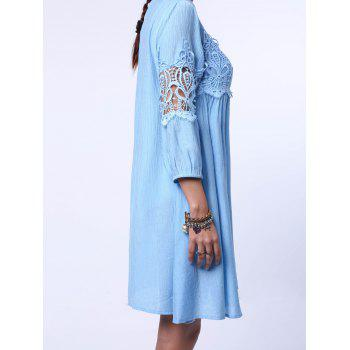 Chic Round Neck 3/4 Sleeve Pure Color Cut Out Robe Femme - Bleu clair L