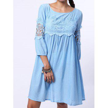Chic Round Neck 3/4 Sleeve Pure Color Cut Out Women's Dress - LIGHT BLUE XL