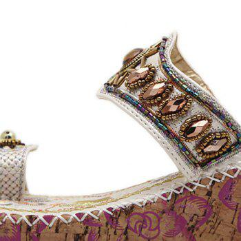 Beaded Toe Ring Bohemian Style Sandals - WHITE 38