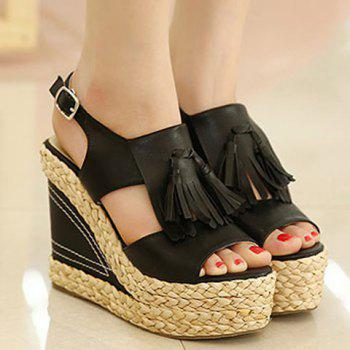 Stylish Tassels and Weaving Design Women's Sandals - BLACK 35