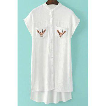 Stylish Women's Short Sleeve Elk Pattern Pocket Design Shirt - WHITE WHITE