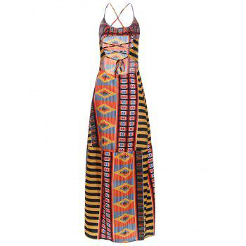 Chic Open Back Ethnic Print Dress For Women - COLORMIX M