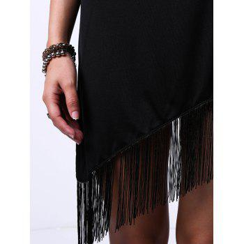 Fashionable Jewel Neck Sleeveless Black Hollow Out Fringe Trim Women's Dress - BLACK S