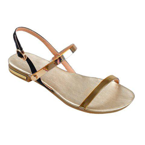 Casual Metal and PU Leather Design Women's Sandals - 37 GOLDEN