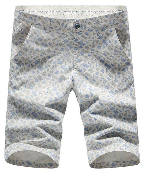 Stylish Geometric Print Straight Leg Men's Zipper Fly Shorts - LIGHT BLUE 32