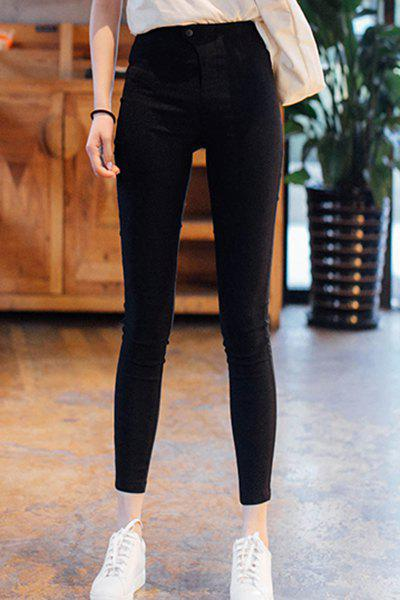 цены Stylish Zipper Fly High Waist Solid Color Ninth Pencil Pants For Women