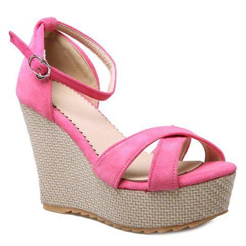 Cross Strap Suede Wedge Heel Sandals - PINK 34