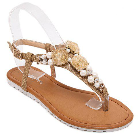Trendy Beading and Flat Heel Design Women's Sandals