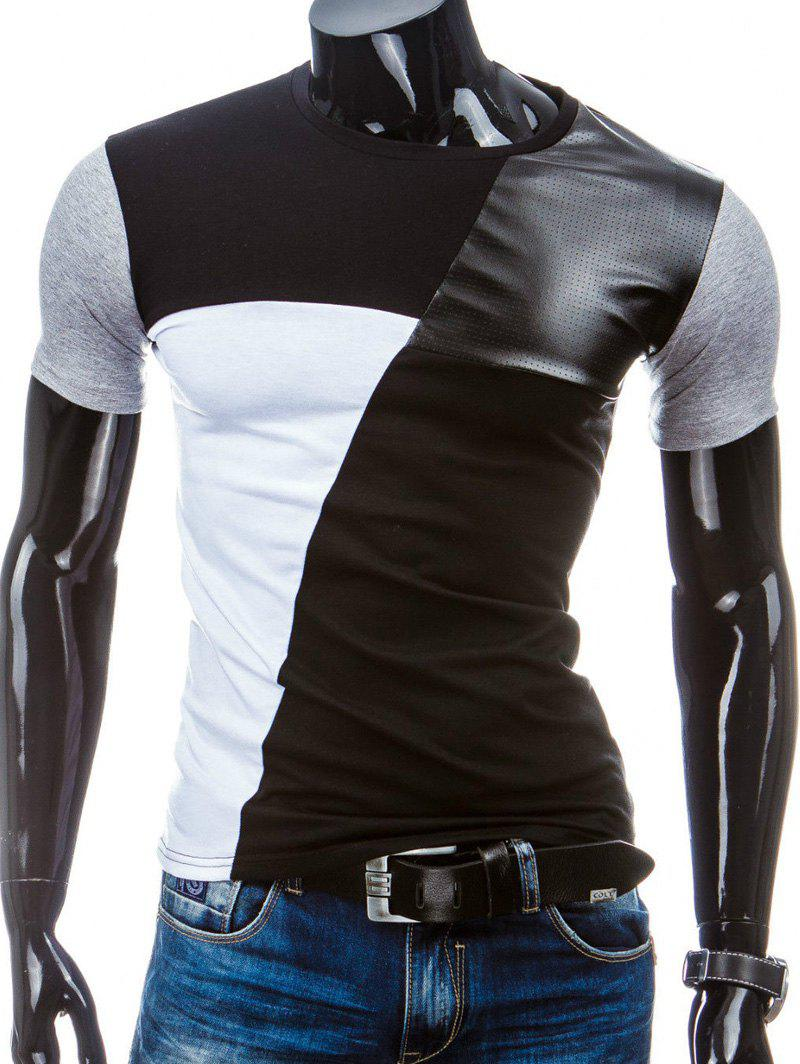 Casual Round Collar Pullover Splicing Men's T-Shirt - BLACK M