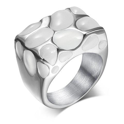 Soft Enamel Titanium Steel RingJewelry<br><br><br>Size: ONE-SIZE<br>Color: WHITE