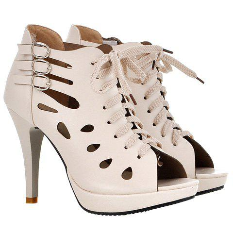 Trendy Hollow Out and Buckles Design Women's Peep Toe Shoes - OFF WHITE 35