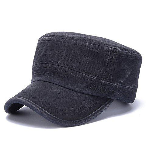Stylish Letters Embroidery Flat Top Men's Military Hat - BLACK