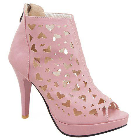 Stylish Zipper and Hollow Out Design Women's Peep Toe Shoes - PINK 37