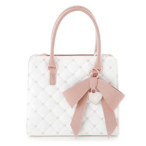 Sweet Bow and Checked Design Tote Bag For Women - PINK