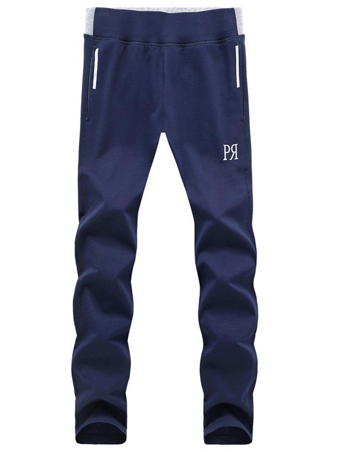 Sporty Chic Straight Leg Lace-Up Joker Pattern Pants For Men - BLUE XL
