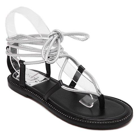 Casual Lace-Up and Flat Heel Design Women's Sandals - SILVER 38