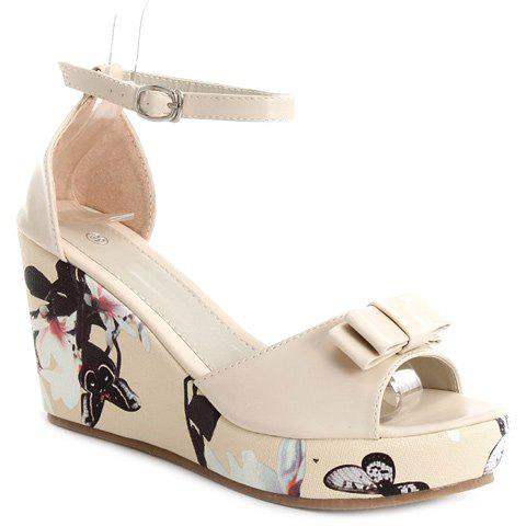 Casual Print and Bow Design Women's Sandals - APRICOT 36