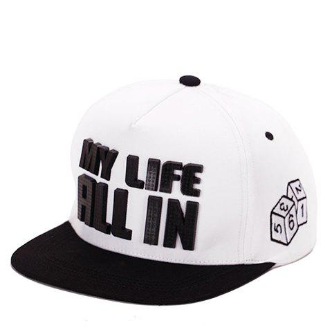 Stylish Letter Shape and Dice Embroidery Embellished Men's Baseball Cap - WHITE