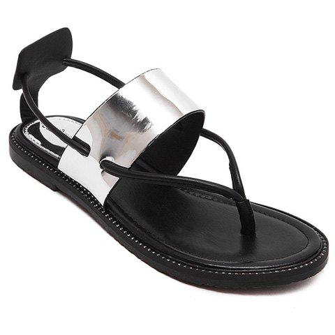 Leisure Metallic Color and Flat Heel Design Women's Sandals - SILVER 39