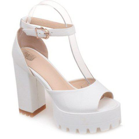 Sweet Chunky Heel and Ankle Strap Design Women's Sandals - WHITE 34