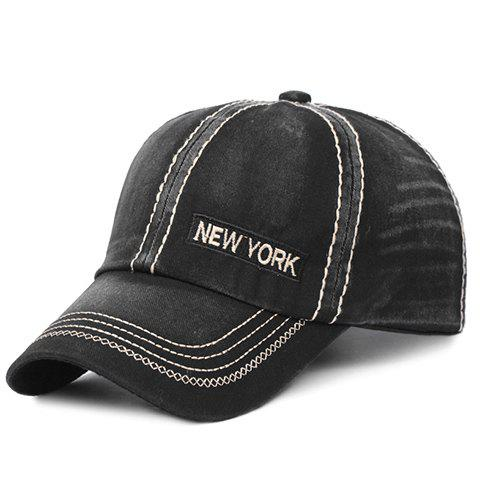 Stylish Letter Embroidery and Sewing Thread Embellished Men's Baseball Cap - BLACK
