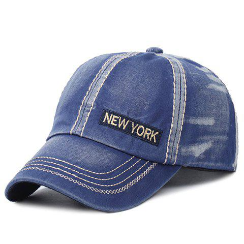 Stylish Letter Embroidery and Sewing Thread Embellished Men's Baseball Cap - BLUE