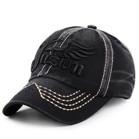 Stylish Letter and Wing Embroidery Men's Baseball Cap - BLACK