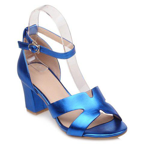 Elegant Chunky Heel and Solid Color Design Women's Sandals - BLUE 39