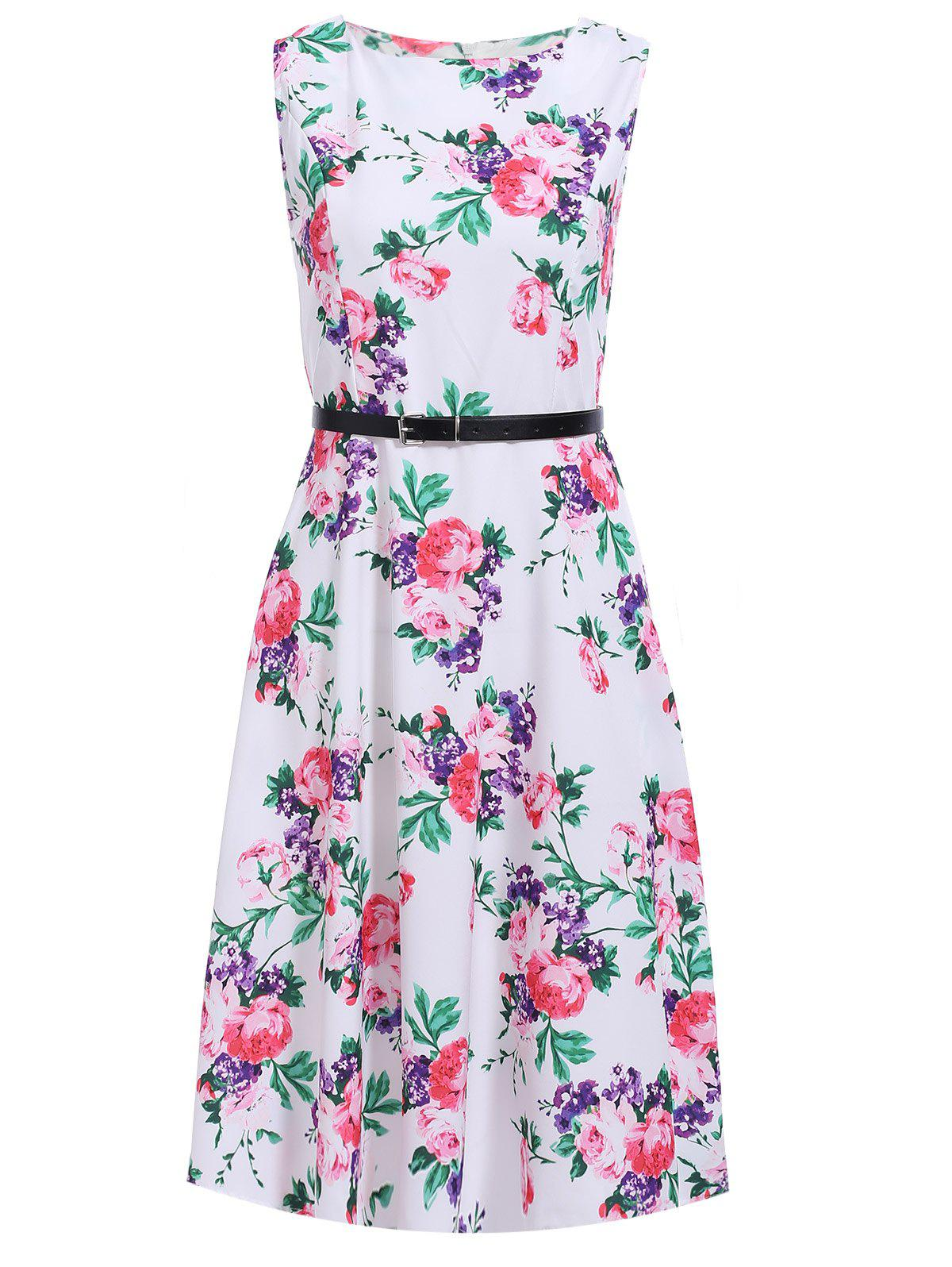 Chic Floral Print Belted Sleeveless Dress For Women
