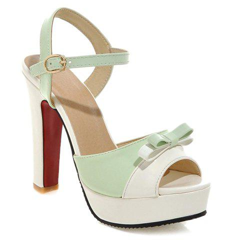 Stylish Bow and Color Block Design Womens SandalsShoes<br><br><br>Size: 38<br>Color: LIGHT GREEN