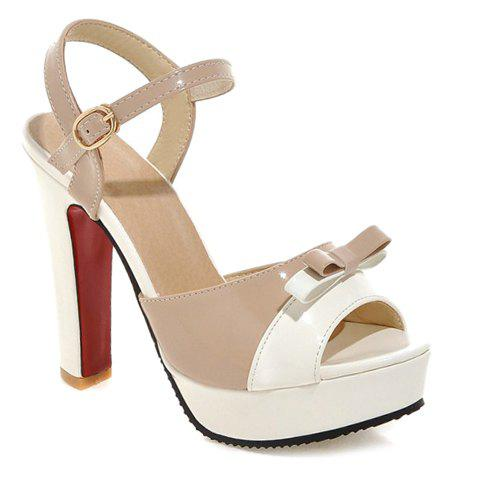Stylish Bow and Color Block Design Women's Sandals - APRICOT 39