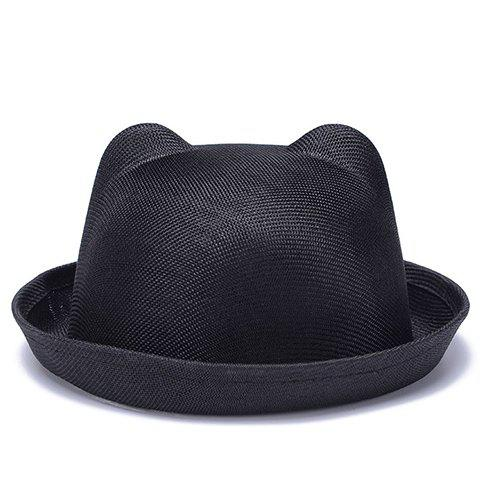 Chic Solid Color Flanging Breathable Women's Cat Ear Fedoras - BLACK