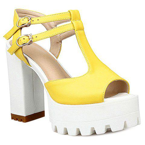 Simple T-Strap and Solid Color Design Women's Sandals - YELLOW 39