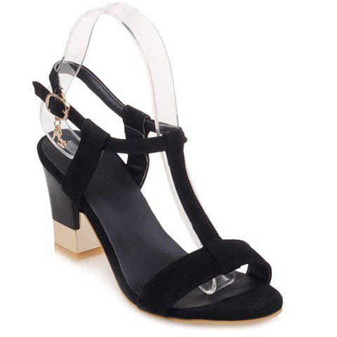 Sweet Slingback and T-Strap Design Women's Sandals - BLACK 36