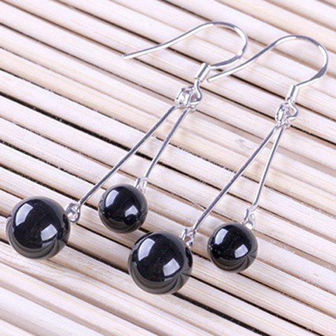 Pair of Bead Faux Agate Earrings - BLACK
