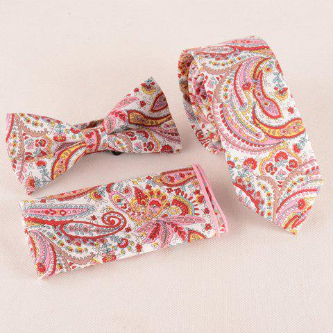 One Set Fashion Paisley Pattern Tie Handkercheif and Bow Tie - PINK