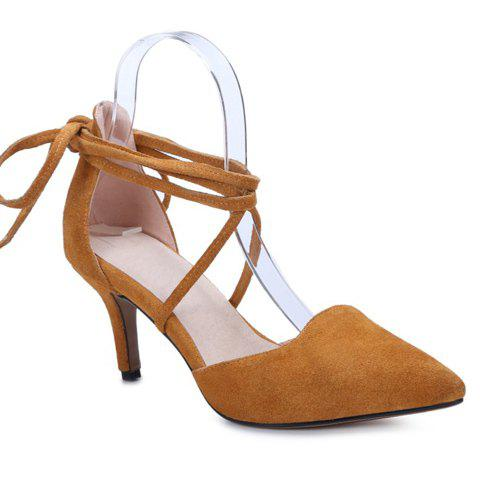 Stylish Solid Color and Suede Design Women's Pumps - BROWN 37