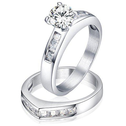 A Suit of Stunning Titanium Steel Rhinestone Rings For Lover