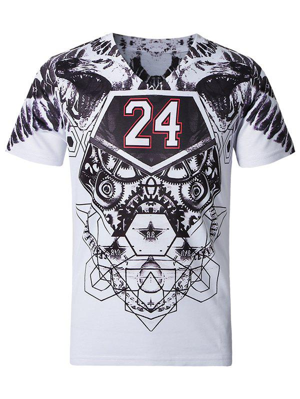 Casual Short Sleeves Plus Size V-Neck Men's 3D Number Printed T-Shirt - WHITE 3XL