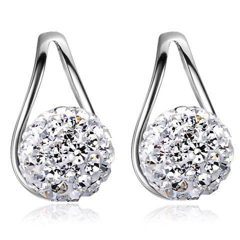 Rhinestoned Ball Teardrop Earrings - SILVER