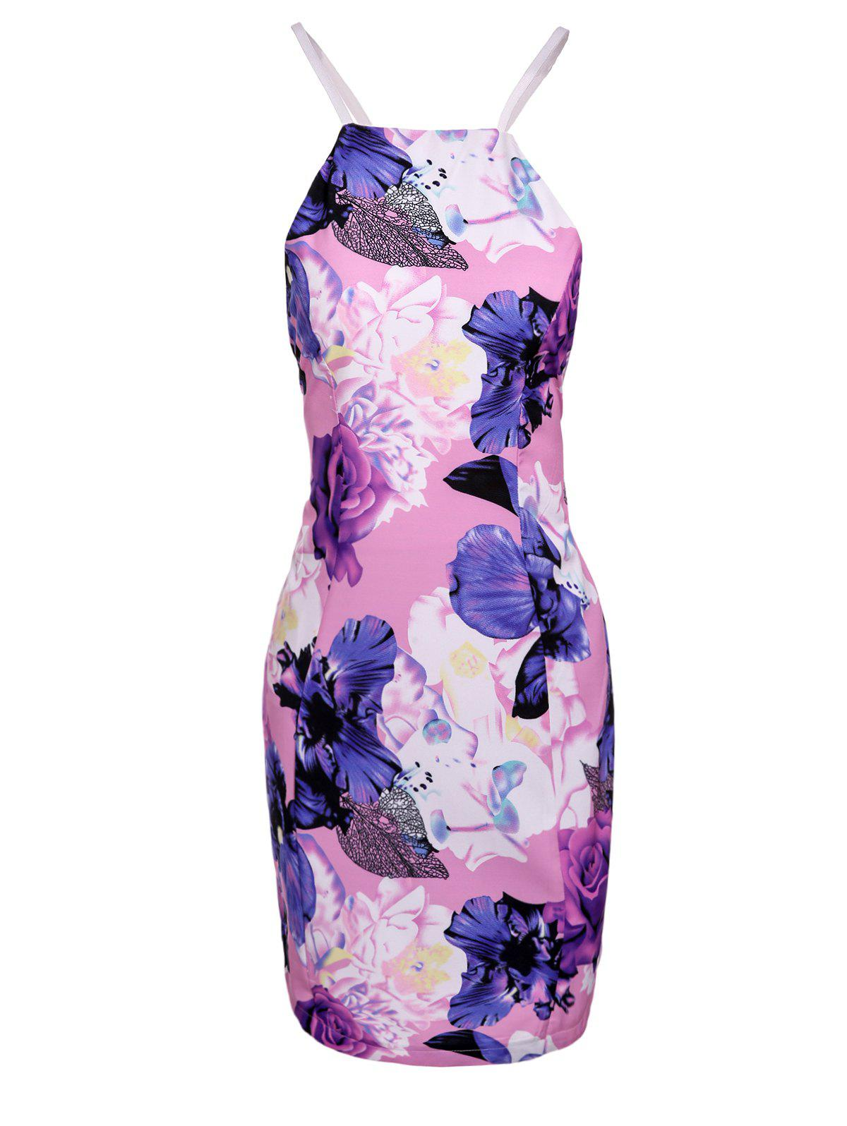 Chic Spaghetti Strap Hollow Out Floral Print Skinny Women's Dress - PINK S