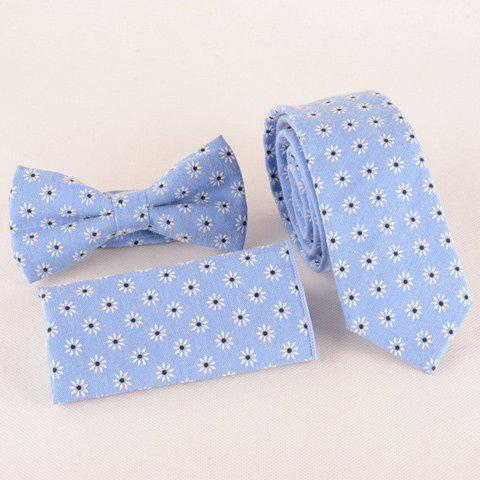 One Set Fashion Daisy Jacquard Light Blue Tie Handkercheif and Bow Tie - LIGHT BLUE